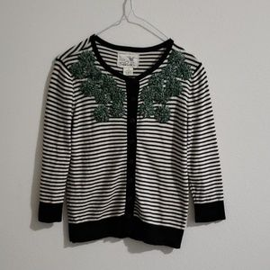 Anthropologie Striped Moss Cardigan